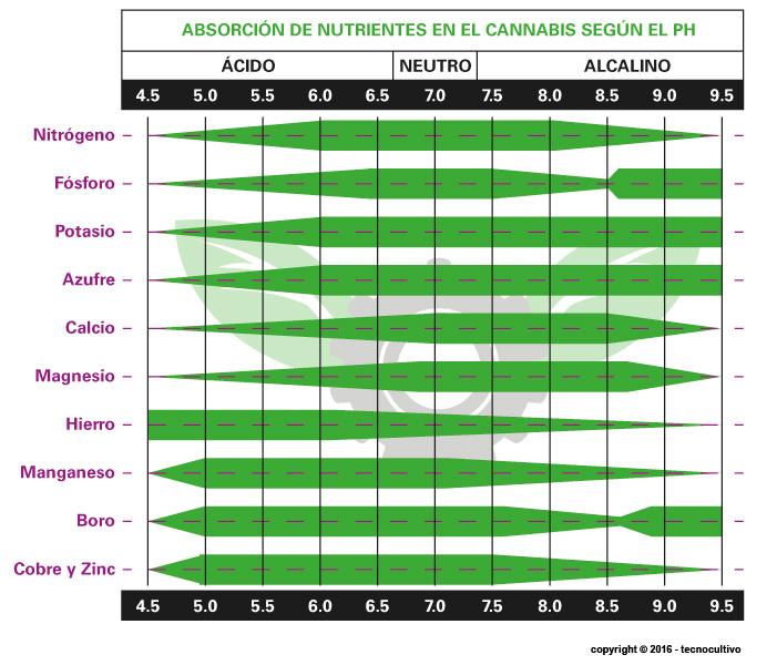 Tabla de Ph ideal para la absorción de los nutrientes